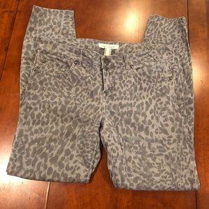 Life in Progress Gray Animal Print Skinny Jeans